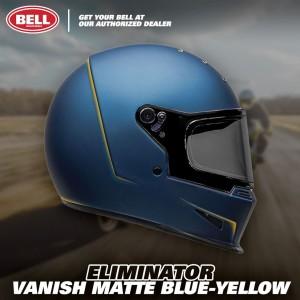 Helm Bell Eliminator Vanish Matte Blue Yellow Full Face Retro