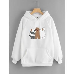 Vallenca Jaket Hoodie We Bare Bears Warna Putih