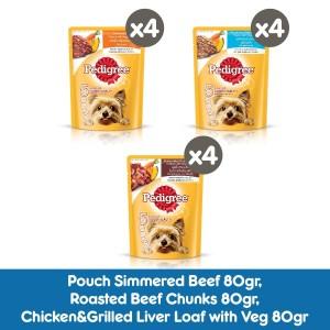 PEDIGREE Makanan Anjing Basah Rasa Beef, Beef Chunks & Chicken -Isi 12