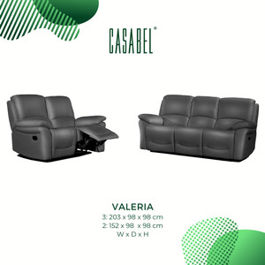 Sofa Kulit Asli Recliner Minimalis CASABEL VALERIA 3 Kursi - Dark Grey