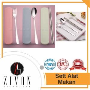 Set Alat Makan (Sendok Garpu Sumpit) Stainless Steel HW2