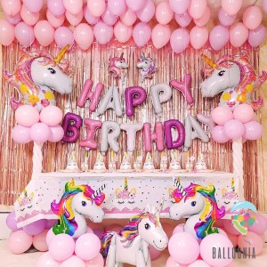 SET Balon Foil Premium Unicorn Head Happy Birthday / Decoration