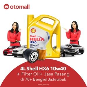 4L Oli Shell HX6 10W40 + Filter Oli + Jasa Pasang