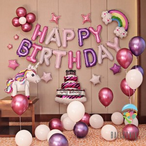 SET Balon Foil Birthday Unicorn Chrome | Dekorasi Ulang Tahun