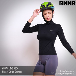 Baju Sepeda Wanita Bahan Katun Spandex Model Long Neck