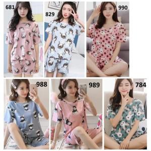 Baju Tidur Lengan Pendek Celana Pendek - Baju Tidur Wanita Remaja