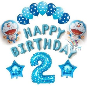 Paket Dekorasi Balon Ulang Tahun Happy Birthday Tema Doraemon 03