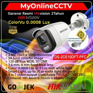 Hikvision DS-2CE10DFT-PF Kamera CCTV Outdoor ColorVu Siang Malam 2MP