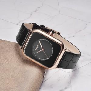 REBIRTH jam tangan wanita Mode Santai Squre Dial Tali kulit Tahan Air