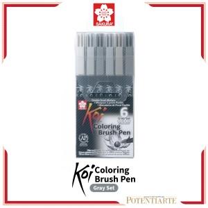 Katalog Sakura Koi Coloring Brush Pen 6 Gray Set Katalog.or.id