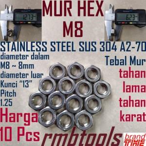 Harga Mur Hex Stainless 304 M4 Diameter 4mm Katalog.or.id