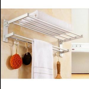 Harga Tempat Gantungan Rak Jemuran Indoor Handuk Dinding Alumunium Toilet Katalog.or.id