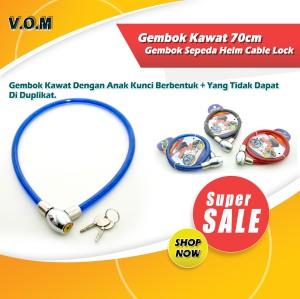 Katalog Gembok Kawat 70cm Dengan Kunci Gembok Sepeda Helm Cable Lock Katalog.or.id
