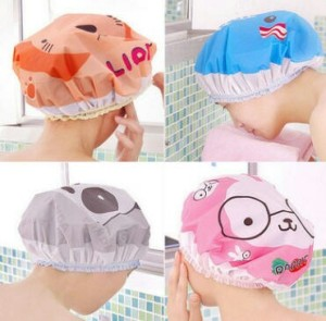 Katalog Shower Cap Tebal Pink Salur Topi Mandi Plastik Penutup Kepala Katalog.or.id