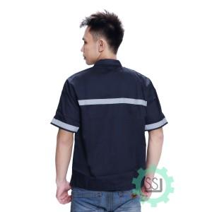 Katalog Baju Seragam Kerja Safety Lengan Pendek Dongker Katalog.or.id