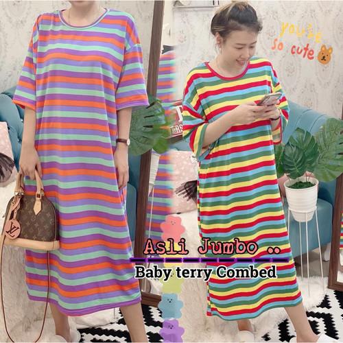 Foto Produk Damai fashion jakarta - ASLI JUMBO long dress JUMBO wanita RAINBOW - k dari LV.co Tanah abang