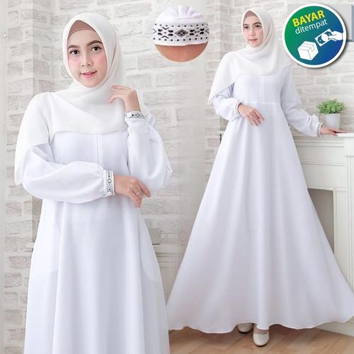 Foto Produk Nabilla Maxy Gamis Syari Gamis Putih Polos Gamis Wanita terbaru - Putih, M dari kahfy_store
