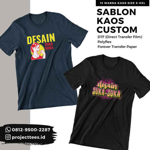 Foto Produk Sablon Kaos Custom Satuan Cotton Combed 30s - Kaos dan Logo dari Project Tees