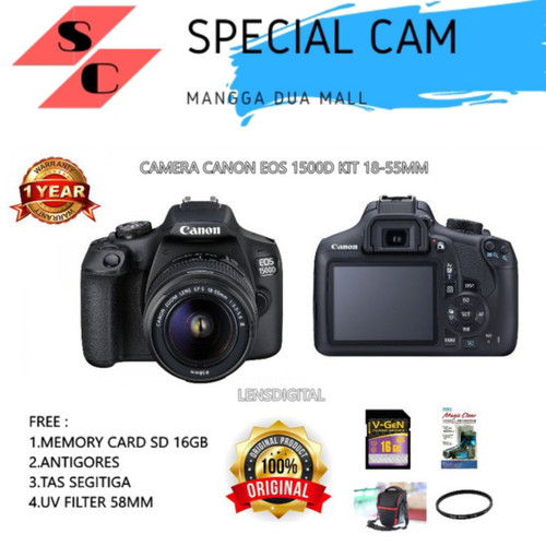 Foto Produk CANON 1500D KIT 18-55 / CANON 1500D 18-55 dari specialcam