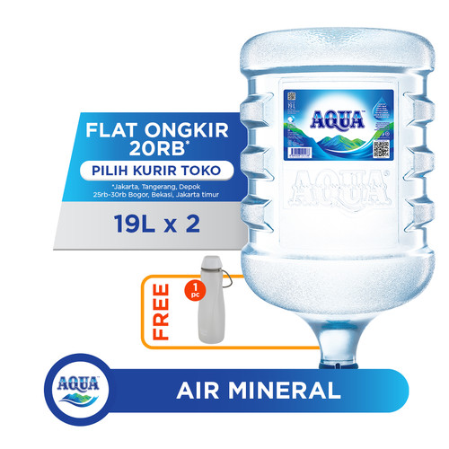 Foto Produk AQUA Air Mineral 19L (2 Galon) FREE Water Carrier dari AQUA Official Store