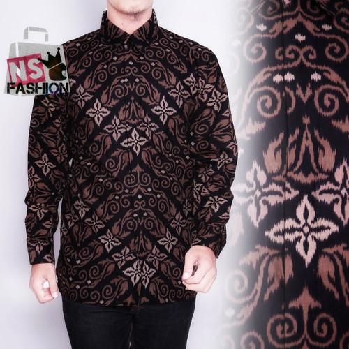 Foto Produk Kemeja Batik Pria Size M L XL XXL Lengan Panjang Katun Hitam Sayyid - Hitam, M dari NSFASHION