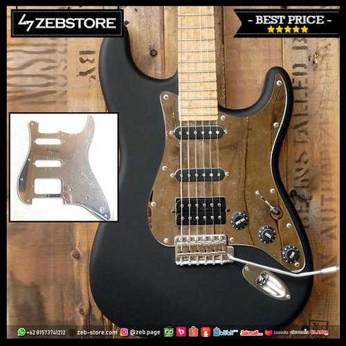 Foto Produk Pickguard Squier Stratocaster Standard Silver Mirror 11H H-S-S dari Zeb Hobbies Store