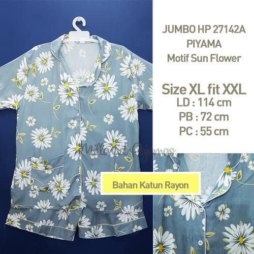 Foto Produk BAJU TIDUR WANITA SIZE XL FIT XXL Sun Flower Katun Rayon JBHP 27142 - Abu-abu dari Millen Collection
