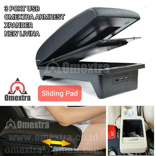 Foto Produk Armrest Xpander All New Livina USB 3 Port Console Xpander Livina USB - JAHIT PUTIH dari OMEXTRA