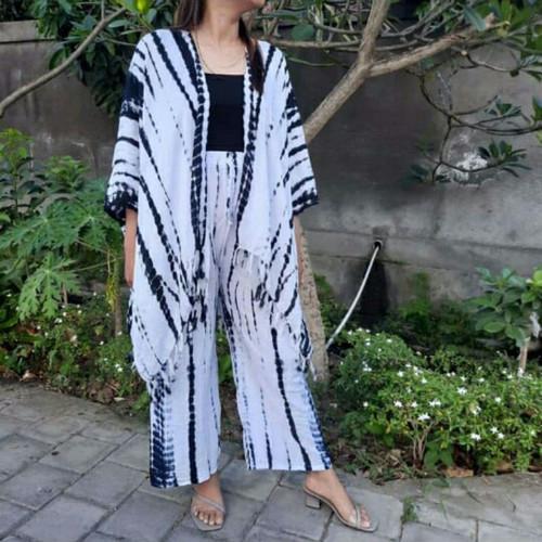 Foto Produk Setelan Outer Tie Dye//Murah//Viral - putih abu dari ZoppaJr