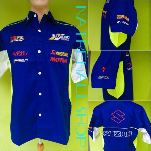 Foto Produk Kemeja Seragam Bordir Otomotif MotoGP Suzuki Team - Biru, L dari Natrenallshop