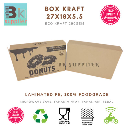 Foto Produk PAPER BOX CRAFT / BOX DONAT ISI 6 / DUS DONAT KRAFT / BOX KRAFT - Kraft Cetak dari BK SUPPLIER