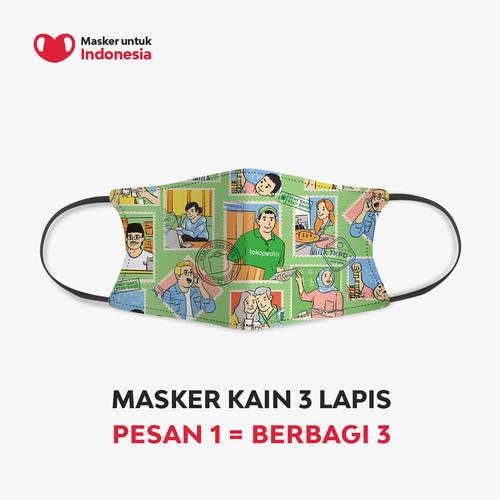 Foto Produk Masker Kain 3 Lapis (3 Ply) Earloop - Desain oleh Tokopedia dari Masker untuk Indonesia
