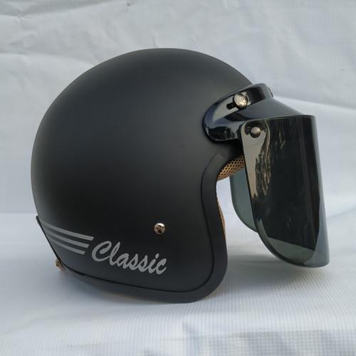 Foto Produk Helm Retro clasic helm Bogo Dewasa kaca datar hitam doff - Flat Smoke dari Rumah Helm Jakarta