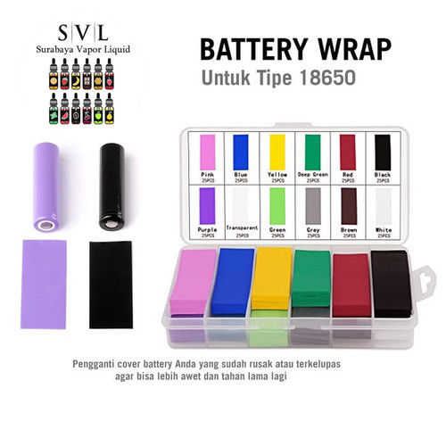 Foto Produk Battery Wrap 18650 Sleeve PVC Cover Plastik Pelindung Baterai dari Surabaya Vapor Liquid