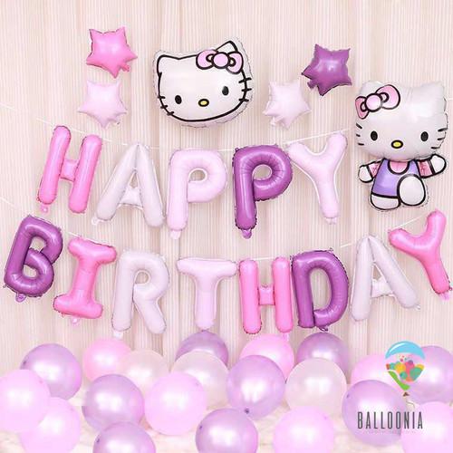 Foto Produk SET Balon Foil Birthday Hello Kitty Head | Dekorasi Ulang Tahun dari Balloonia