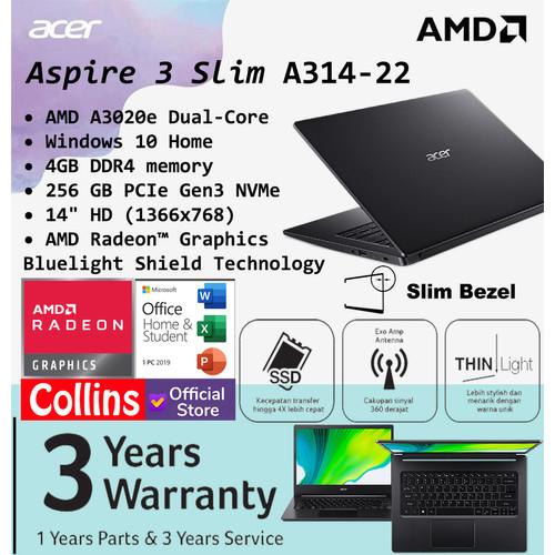"Foto Produk Acer Aspire 3 Slim A314-22 - AMD A3020e 4GB SSD 256GB 14"" HD W10 OHS dari Collins Official"