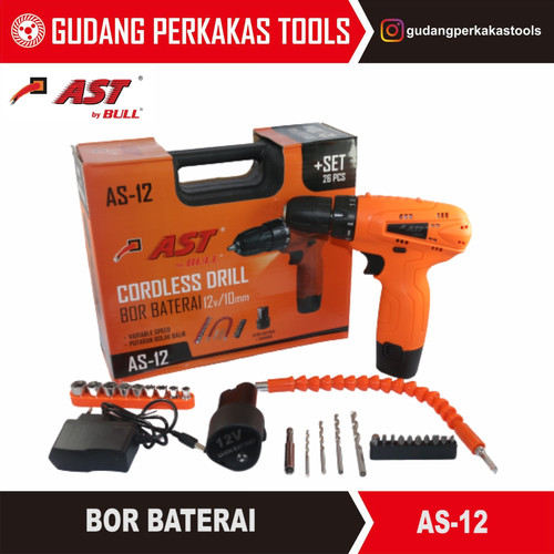 Foto Produk Mesin bor baterai / charge / cordless drill set 10mm AST AS-12 dari Gudang Perkakas Tools