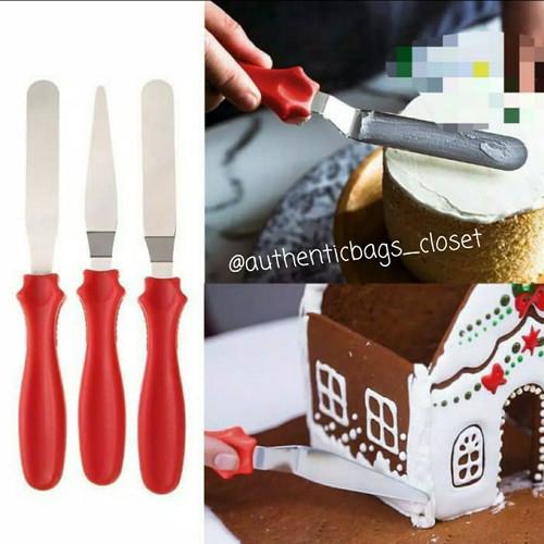 Foto Produk Icing cream stainless steel cake spatula (1 set isi 3) - Merah dari Authenticbags_closet
