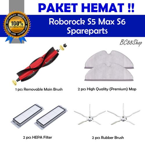 Foto Produk Roborock S5 Max S6 parts (Main Brush, Mop, HEPA, Rubber Brush) dari BC88Shop