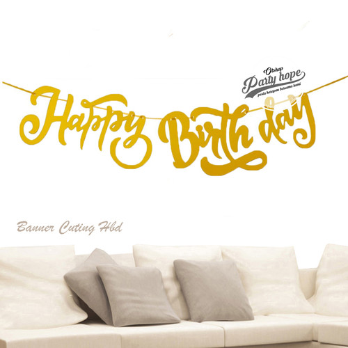 Foto Produk banner happy birthday latin gold / bunting flag hbd latin cutting 2 dari PARTY HOPE 2