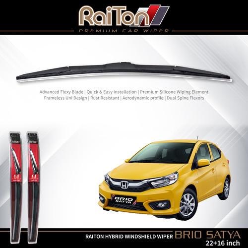 """Foto Produk Raiton Sepasang Wiper Hybrid Kaca Depan Mobil Honda Brio Satya 22""""&16"""" dari Raiton"""