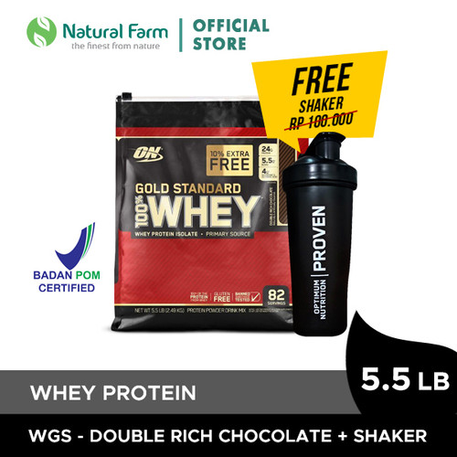 Foto Produk Optimum Nutrition 100% WHEY Gold Standard -Chocolate 5,5lb+Shaker 2019 dari Natural Farm