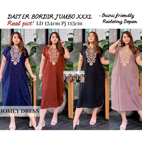 Foto Produk Baju Homey Wanita Kaftan Dress Bordir Jumbo Bigsize XXXL LD 120 Murah - Hitam dari Belle Butik