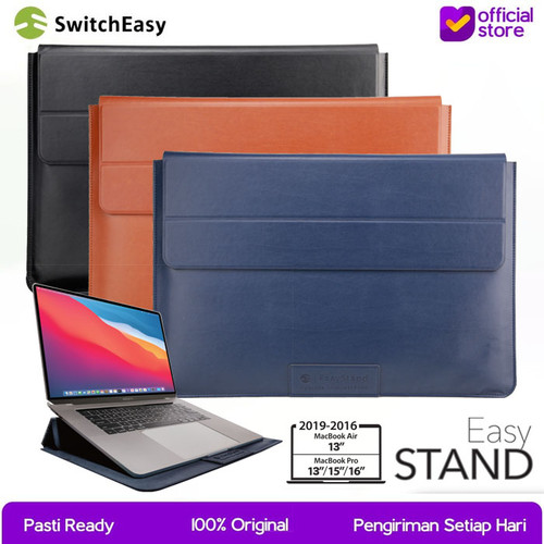 Foto Produk Sleeve Macbook Air / Pro 13 / 15 / 16 Inch SwitchEasy Easy Stand Tas - 15 - 16 Inch, Saddle Brown dari SwitchEasy Official