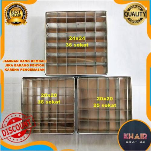 Foto Produk Loyang brownies sekat diameter 20/24/30cm Loyang persegi - 20x20 25 sekat, Hanya sekat dari KhairaShop25