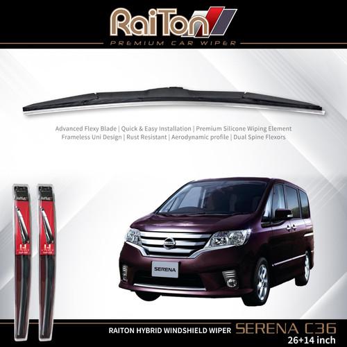 "Foto Produk Raiton Sepasang Wiper Hybrid Kaca Depan Nissan Serena C36 26"" & 14"" dari Raiton"