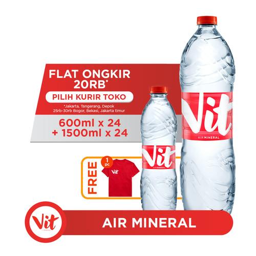 Foto Produk VIT Air Mineral 24x600ml + 24x1500ml FREE Eksklusif T-Shirt dari AQUA Official Store