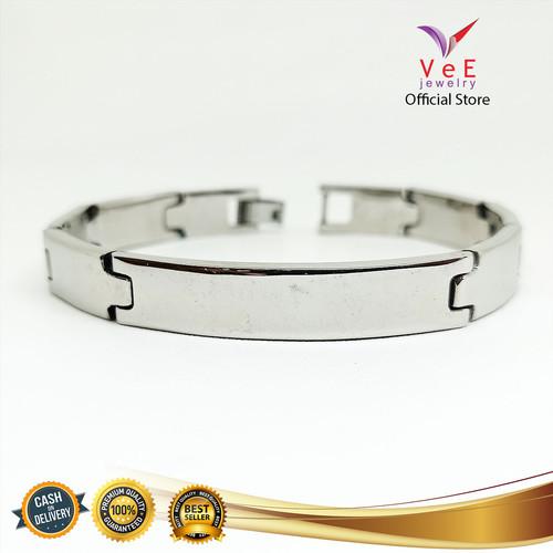Foto Produk Gelang Titanium Perak Jam Plat Panjang -VeE Gelang Tangan Wanita Pria dari Vee Jewelry
