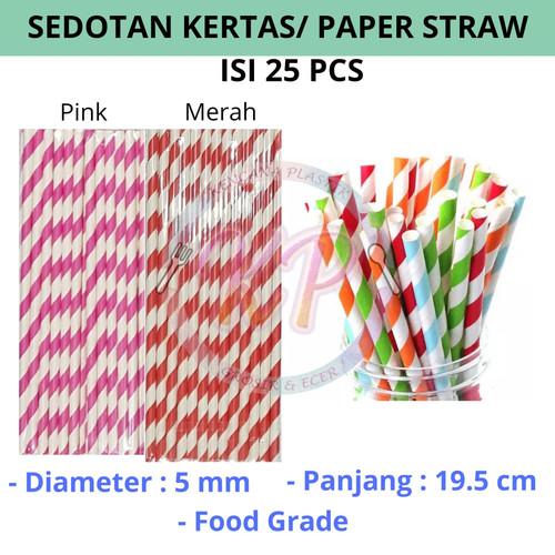 Foto Produk 25pcs Sedotan Kertas Paper Straw Party Straw Sedotan Acara Warna Warni - Merah dari Toko Kencana Plastik