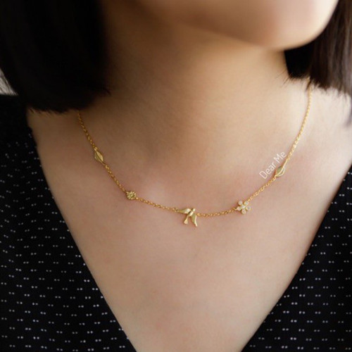 Foto Produk Dear Me - Abelia Necklace 925 Sterling Silver with 18k Gold Plating dari Dear Me Jewelry